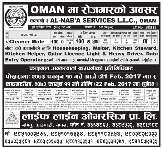 Jobs in OMAN for Nepali, Salary Rs 28,500