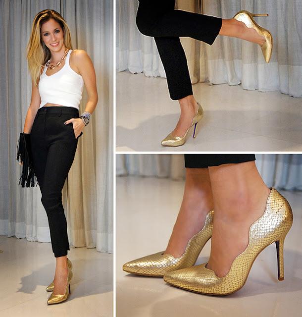 Resultado de imagem para como usar sapato dourado
