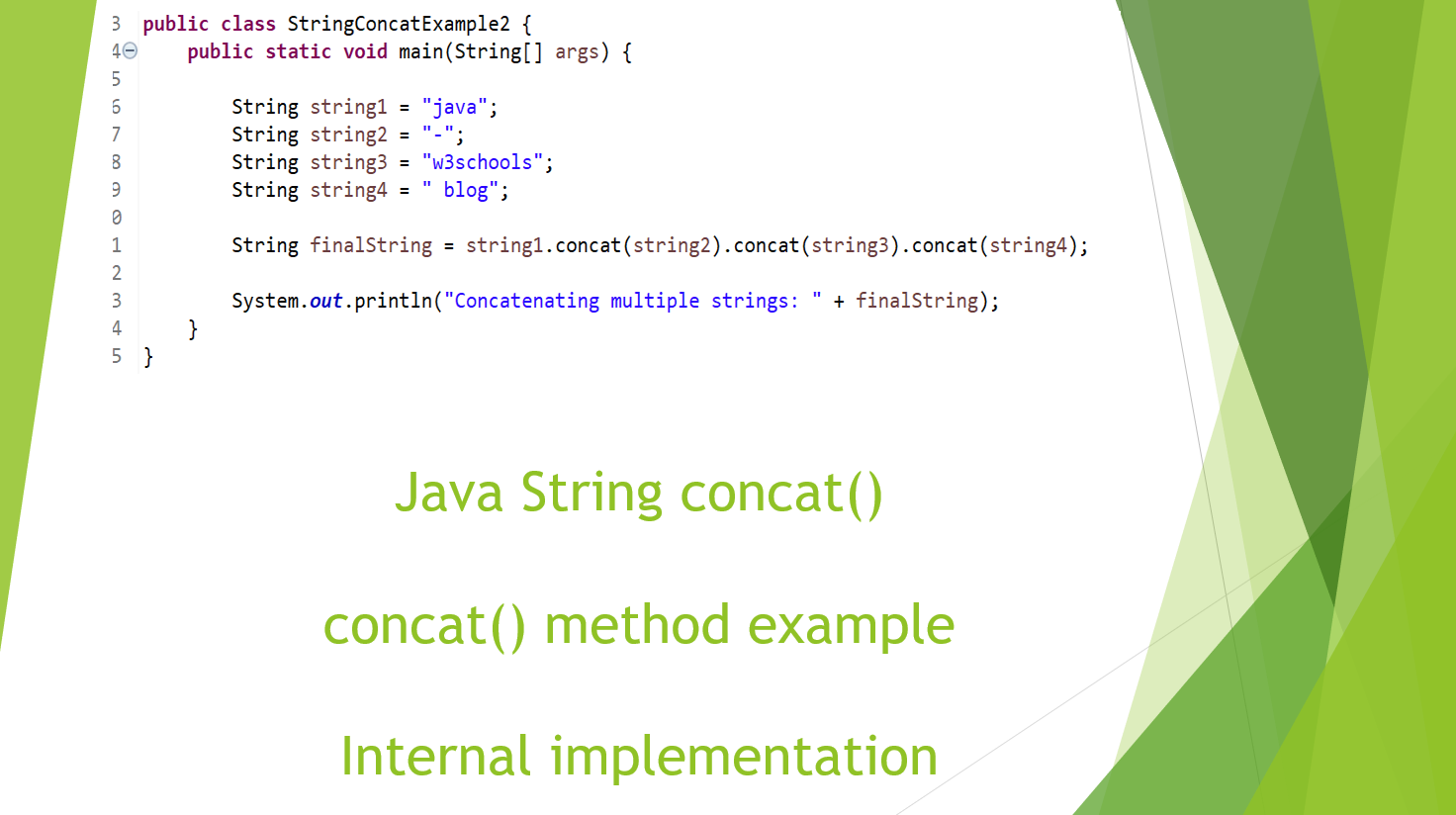 String concat() method in java with example - Internal