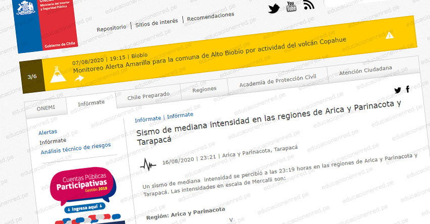 Fuerte Sismo en Chile de Magnitud 5.2 (Hoy Sábado 15 Agosto 2020) Alerta de Tsunami - Terremoto - Temblor - Epicentro - Arica - Parinacota - Tarapacá - ONEMI - www.onemi.cl