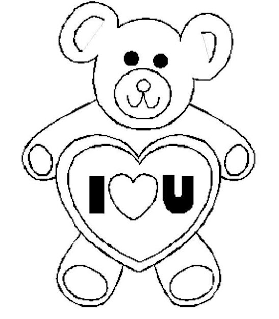 Valentines Day Coloring Pages Bear Love