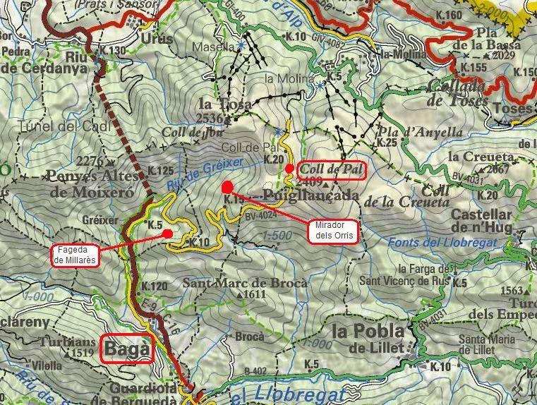 Mapa del Parc natural del Cadí-Moixeró Alt Berguedà Bagà Coll de Pal