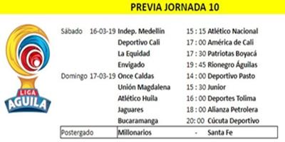 Liga Águila I 2019 - Jornada 10 -Marzo 16-17-18