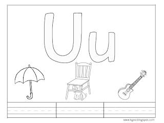 أوراق عمل حرف U u مع كلمات تبدأ بحرف u