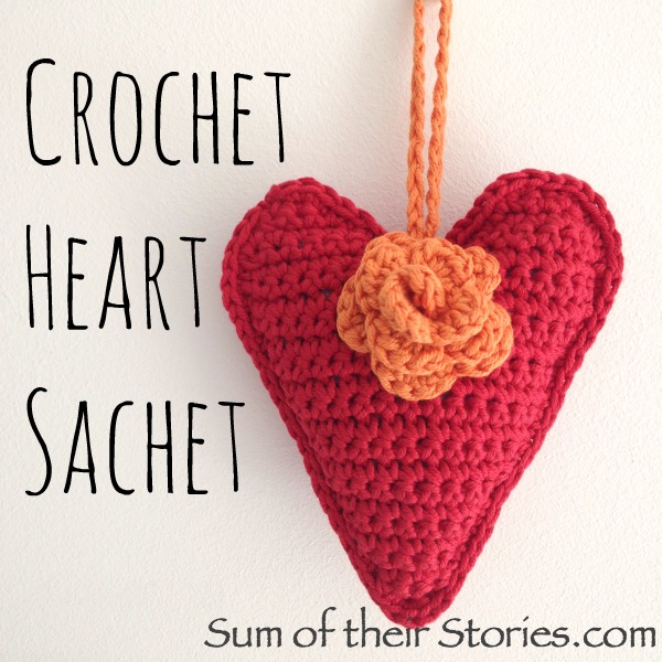 crocheted heart scented sachet