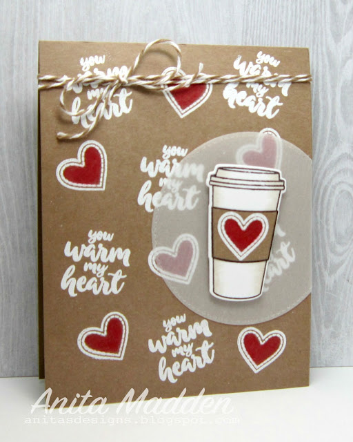Sunny Studio Stamps: Mug Hugs You Warm My Heart Coffee Card by Anita Madden.