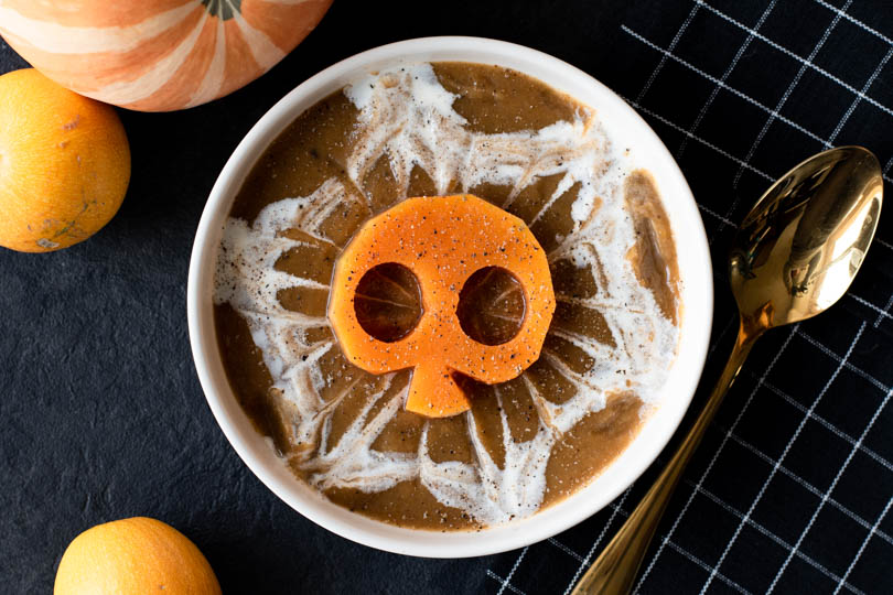 recette Soupe halloween courge champignons