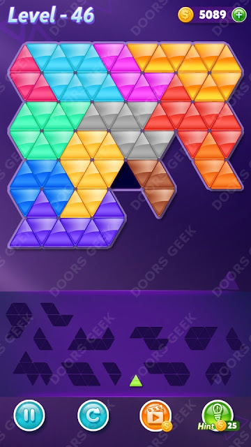 Block! Triangle Puzzle Champion Level 46 Solution, Cheats, Walkthrough for Android, iPhone, iPad and iPod
