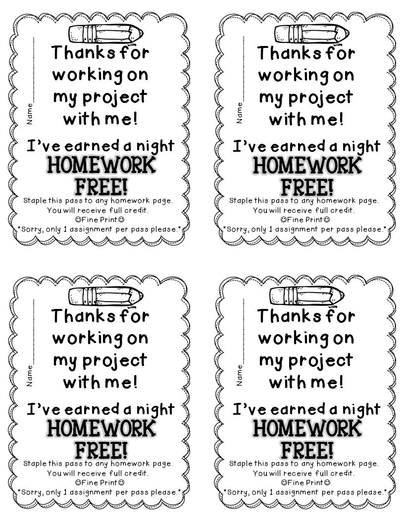 Fluttering Through First Grade: Homework Passes for