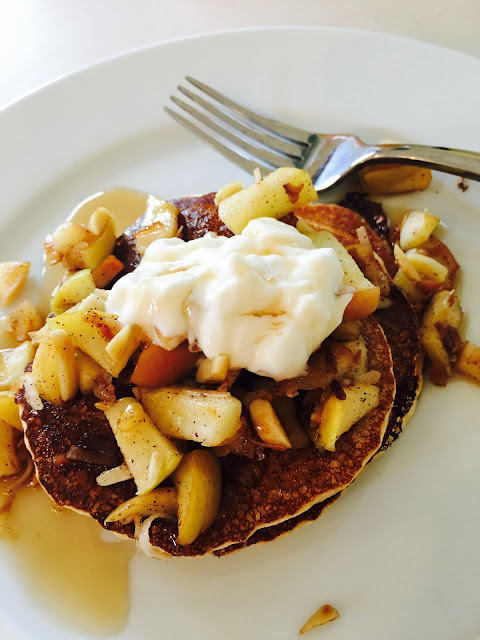Kodiak cakes pancake waffle mix with sauteed apples and almonds, Pancake recipes, The Style Sisters