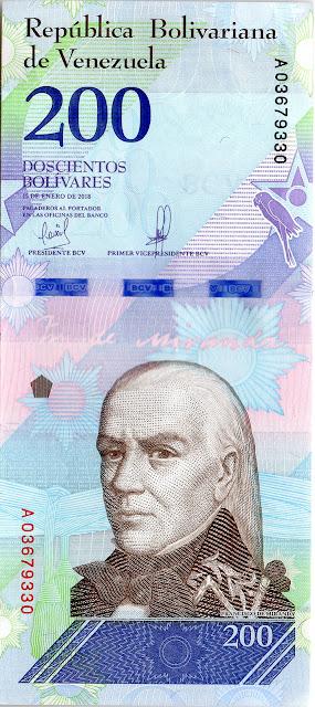 Venezuela Currency 200 Bolivares Soberanos banknote 2018 Francisco de Miranda