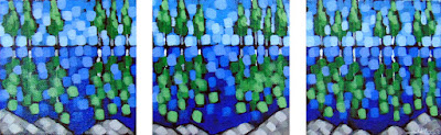 Reflection Lake Triptych painting by duluth artist aaron kloss, pointillism, painting of a lake in summer, acrylic landscape painting