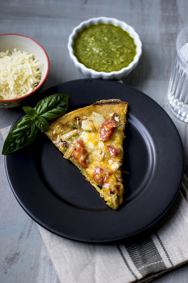 Socca Pizza with pesto