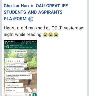 OAU Students Allegedly Goes Mentally Unstable While Reading