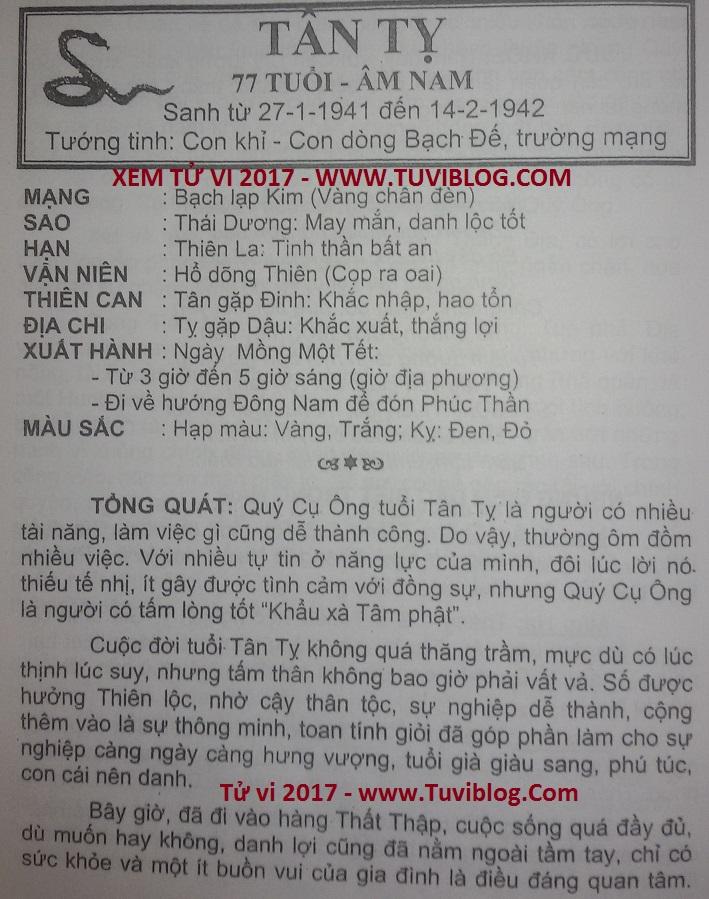 Tu vi 2017 Tan Ty 1941 nam mang