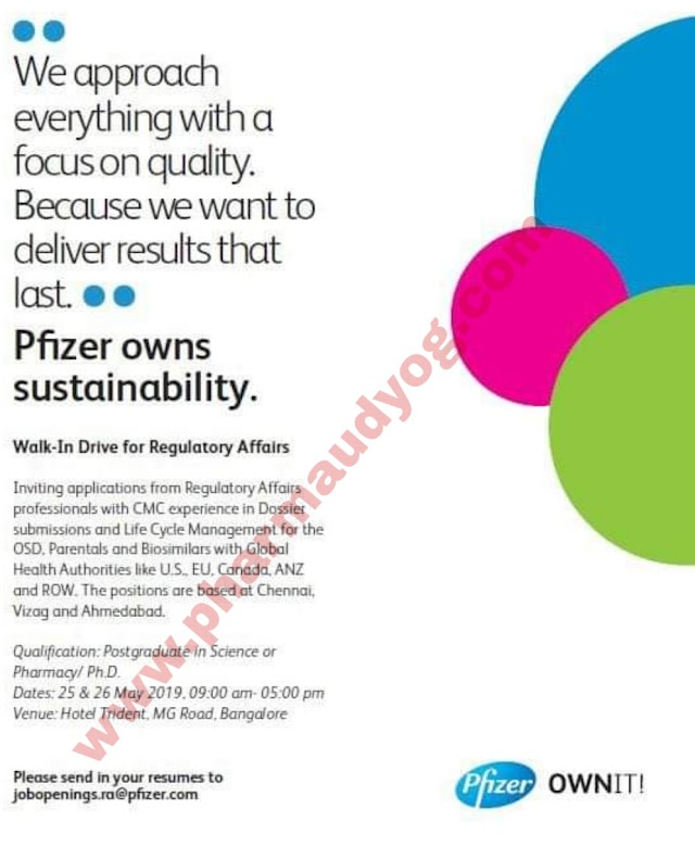 Pfizer pharmaceuticals | Walk-in interview for Regulatory affairs | 25&26th May 2019 | Bangalore