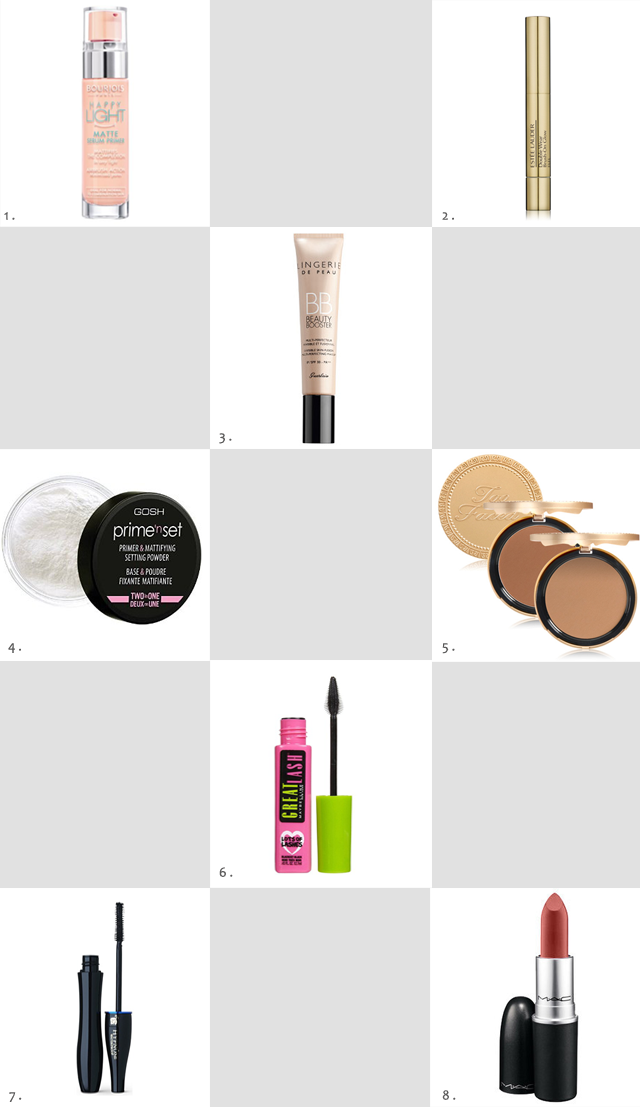 Wish list, make up, beauty, bourjois happy light, guerlain lingerie de peau, gosh prime n set, estee lauder double wear concealer, lancome hypnose mascara, mac twig lipstick