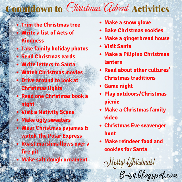 Holiday Family Activities, Advent Calendar