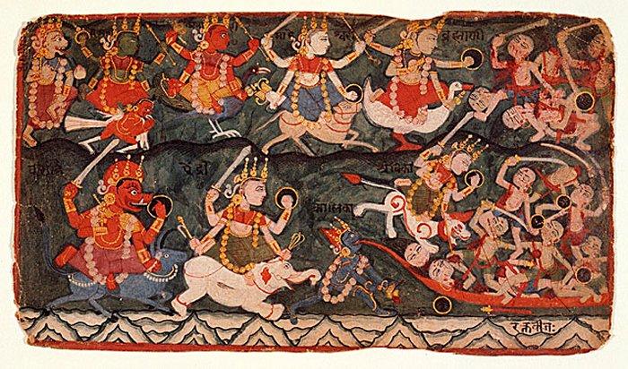 Todas las deidades hindúes tenían un Vahana. Los ocho Matrikas montan diferentes vahanas como (fila superior, segundo de izquierda a derecha) Garuda, un pavo real, Nandi toro, un hamsa (ganso / cisne); (fila inferior, de izquierda a derecha) búfalo, elefante y el león.