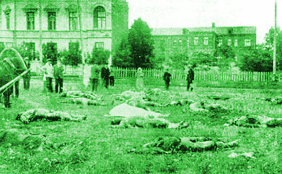 Excavation of Red Terror victims outside the headquarters of the Kharkov Cheka in Kharkov, Summer 1919