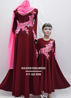 DRESS SET IBU ANAK  WARNA MAROON