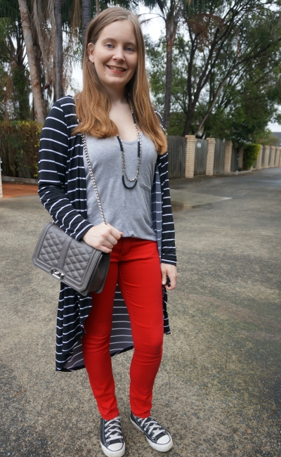 stripe duster with red skinny jeans, grey tee and Rebecca Minkoff love bag | AwayFromBlue