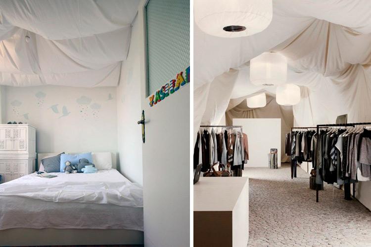 techos decorados con telas