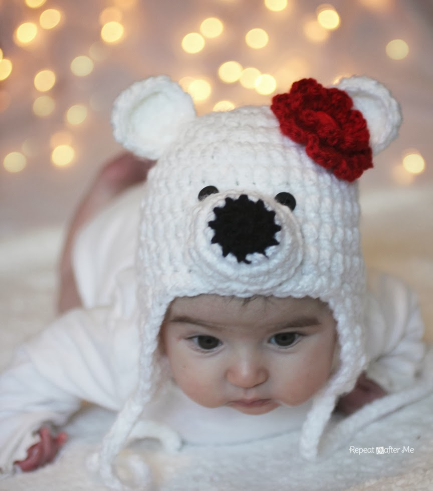 abacc812b6d Now excuse me while I photo bomb you with pictures of my baby wearing her  new polar bear hat 🙂