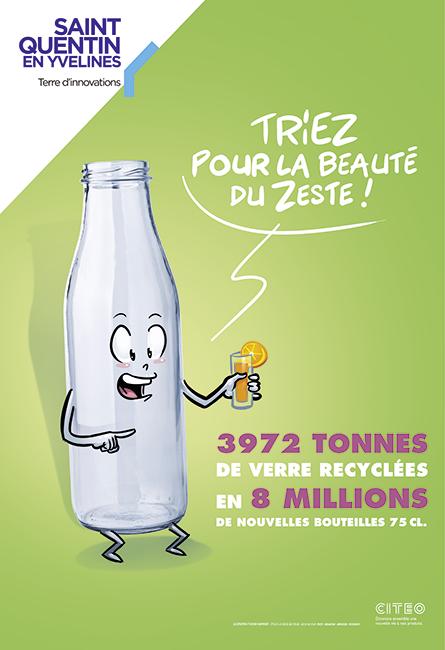 Conception d'une affiche humoristique pour le tri des déchets verre