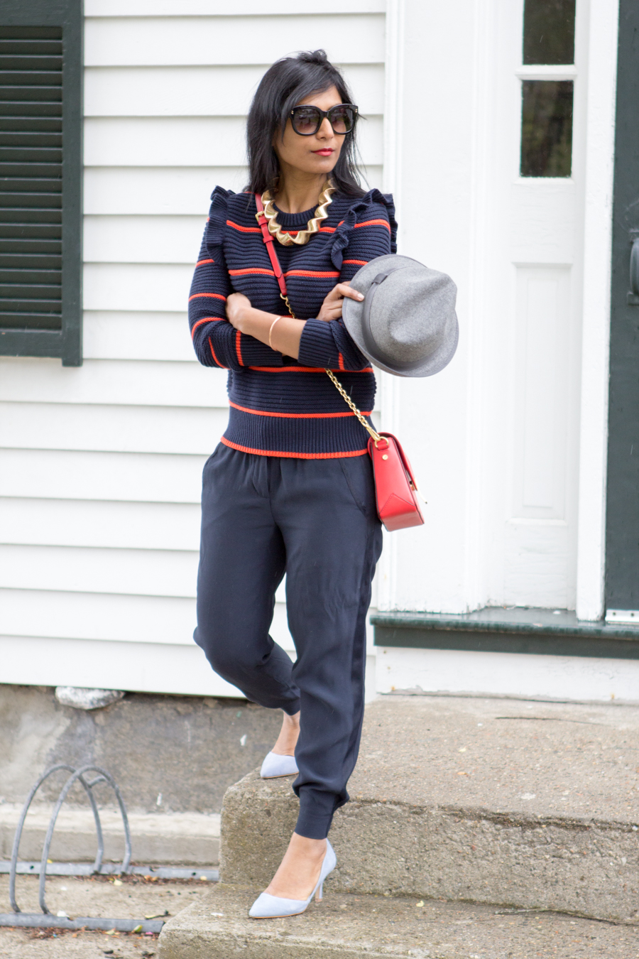 what to wear to run errands, jogger, casual pants, work to weekend, light blue pumps, fedora, banana republic, pullover, navy sweater, striped sweater, spring outfit, spring lookbook, petite fashion, mommy style, easy chic, mommy glam, red bag, dressy casual, fashion blog, petite style, style blog, street style, easy outfit