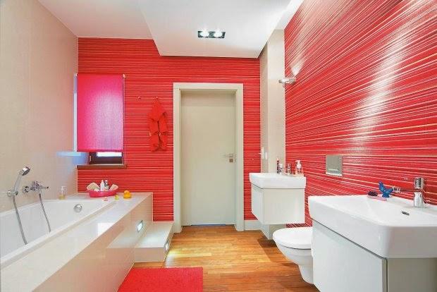 Dise os de ba os en color rojo colores en casa for Accesorios bano rojo