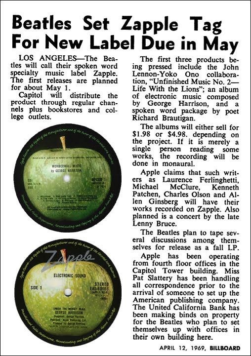 Zapple Records Article Billboard April 12, 1969