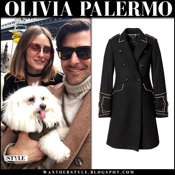 Olivia Palermo in black coat banana republic and red sunglasses westward leaning with Johannes Huebl fashion march 25