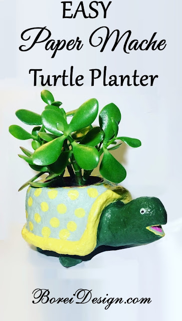 how-to-make-diy-paper-mache-turtle-planter-plant-stand