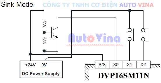 Hướng dẫn đấu nối, kết nối sơ đồ đấu nối ngõ vào dạng Sink mode cho module DVP16SP11N PLC Delta