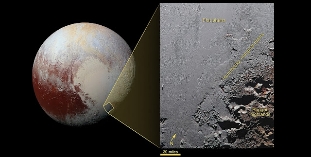This enhanced color view from NASA's New Horizons spacecraft zooms in on the southeastern portion of Pluto's great ice plains, where at lower right the plains border rugged, dark highlands informally named Krun Macula. Credit: NASA/Johns Hopkins University Applied Physics Laboratory/Southwest Research Institute