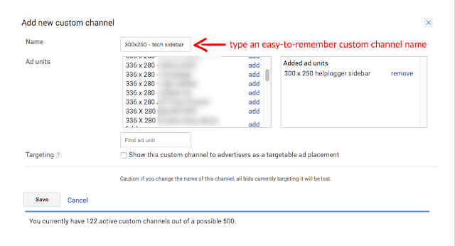 new google adsense custom channel