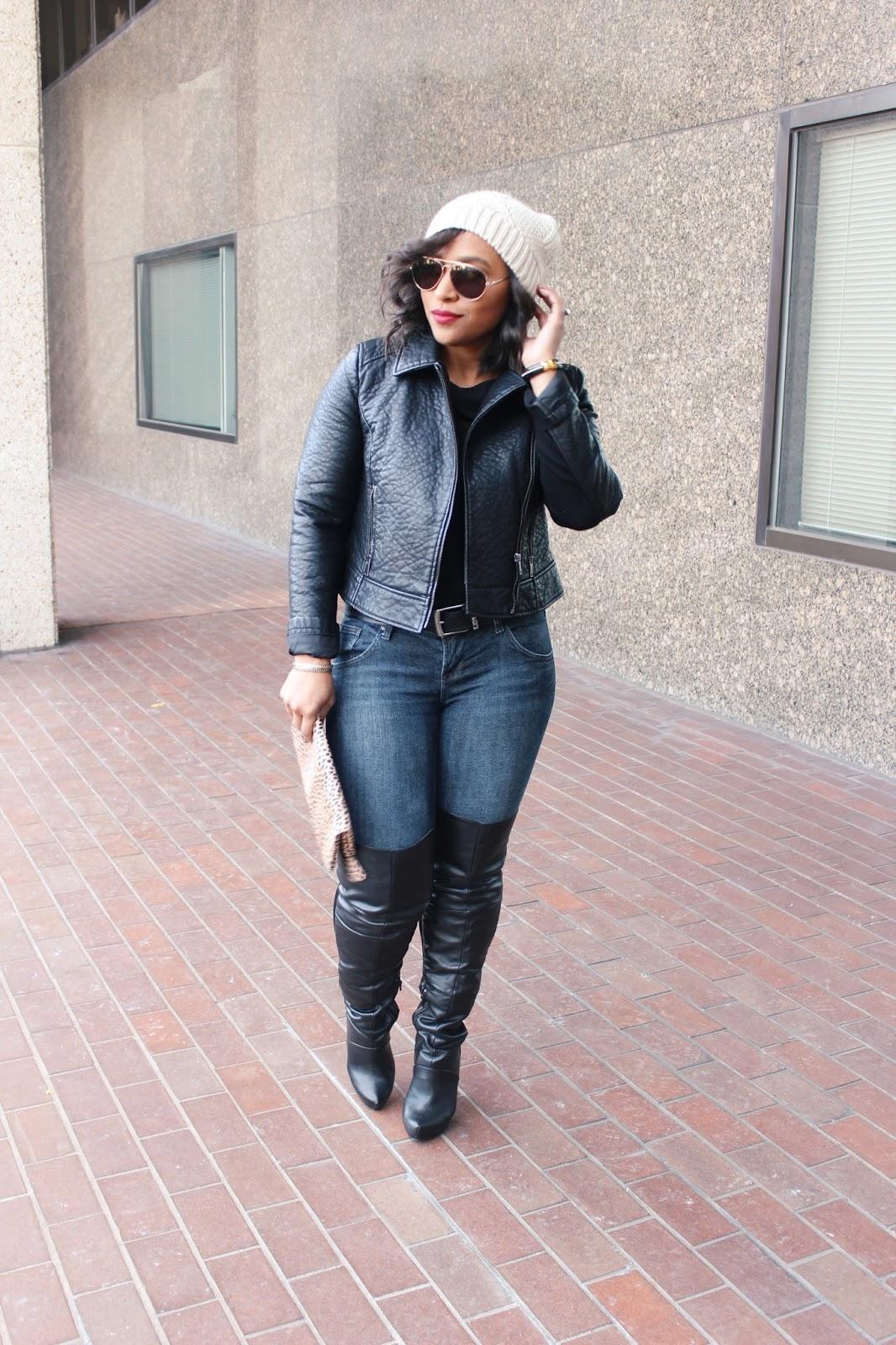 moto jacket, all black look, otk boots, black boots, edgy look, black jacket, faux leather