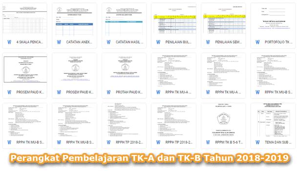 Perangkat Pembelajaran TK-A dan TK-B Tahun 2018-2019