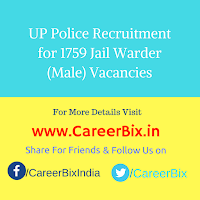 UP Police Recruitment for 1759 Jail Warder (Male) Vacancies
