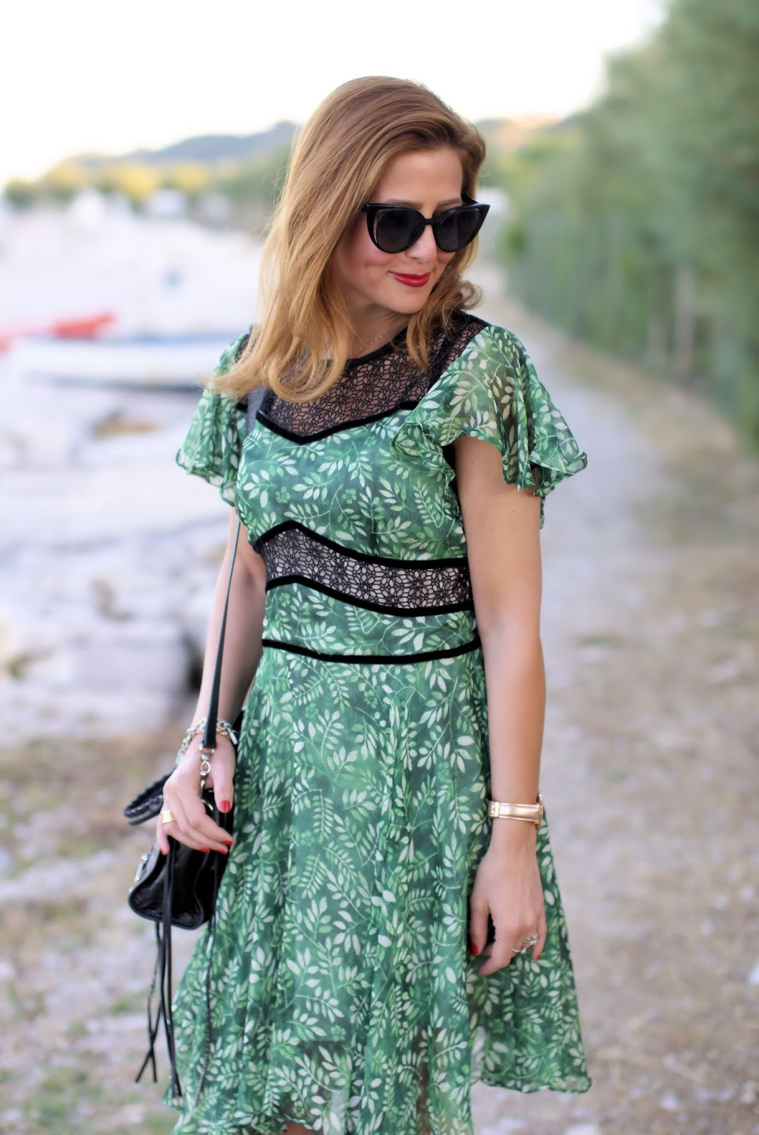 Metisu Flutter sleeves hollow out green eaves print dress on Fashion and Cookies fashion blog, fashion blogger style