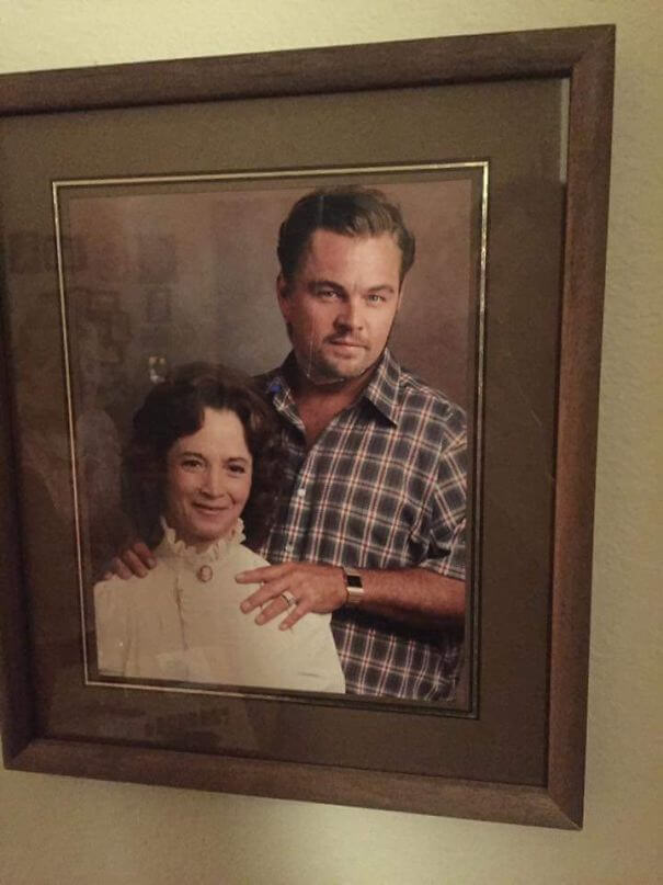 20 Hilarious Photos Of Grandparents Being Awesome - Grandma Put A Magazine Cut Out Of Leonardo DiCaprio Over Her Late (Not So Nice) Husband's Face. The 80+ Year Old's Version Of Photoshop