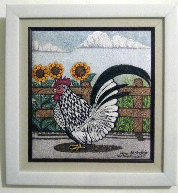 Lukisan Bordir Jago Kate dan Bunga Matahari