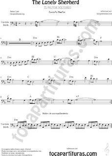 Trombón, Tuba Elicón y Bombardino Partitura de Pastorcillo Solitario Sheet Music for Trombone, Tube, Euphonium Music Scores (tuba en 8ª baja)