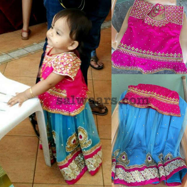 Little Cutie in Sky Blue Lehenga and Blouse