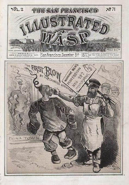 "George Frederick Keller (Illustrator), ""The First Blow at the Chinese Question,""  San Francisco Illustrated Wasp, December 5, 1878  Courtesy of Thomasnastcartoons.com"