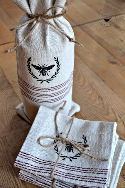 grain sack wine bottle bag