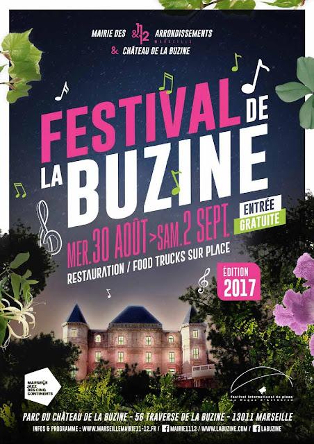 Fanfare et concerts gratuits pour le Festival de la Buzine du mercredi 30 Août au 2 Septembre 2017 au Château de la Buzine à Marseille