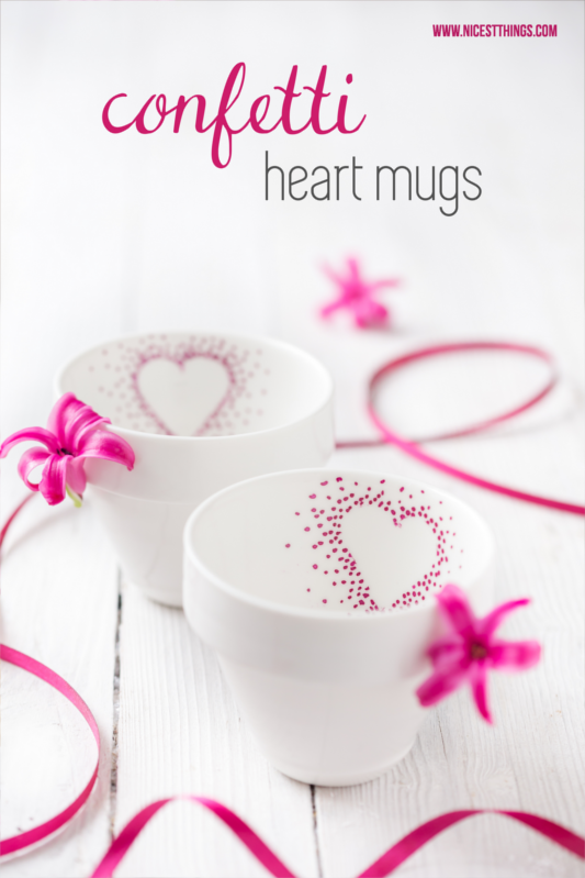 DIY Confetti Heart Mugs