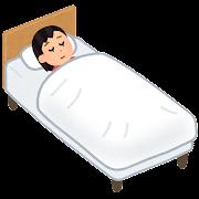 ベッドで寝る人のイラスト(女性)